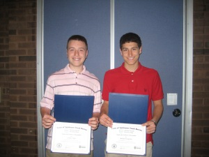 Connor Negri and Michael Tarquinio Receive Their Award at Global Youth Service Day. Photo courtesy of Smithtown Youh Bureau.