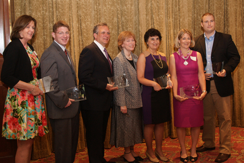 2013 IABC Communications Awards honorees Robin DiGiocomo, Gordon Tepper, and Edward P. Mangano, with IABC Long Island President Ann Middleman and fellow honorees Sheila Ziegler, Monica Zenyuh, and Henry Powderly. Photo courtesy of IABC Long Island.